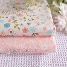 2 unids 50 CM * 40 CM pequeña flor fresca rosa 100% sarga de algodón tela del remiendo de los niños del lecho de costura que acolcha muñeca pañuelos de tela