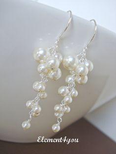 Pearl Wedding Earrings. Bridal Earrings. Statement by Element4you, $35.00