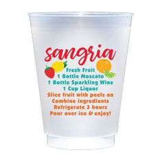 Swoozie's exclusive frosted shatterproof cups with a sangria recipe and sangria fruit motifs. Fiesta Party Decorations, Fiesta Theme Party, Party Themes, Party Ideas, Fruit Cups, Sangria Recipes, Party Cups, Sparkling Wine, Cocktail Napkins