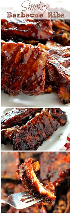 Smokey Barbecue Ribs ~ Smokey, Tender Ribs Loaded in a Homemade Barbecue Sauce!  I chose this recipe because it is one of my favorite foods and it makes it look easy