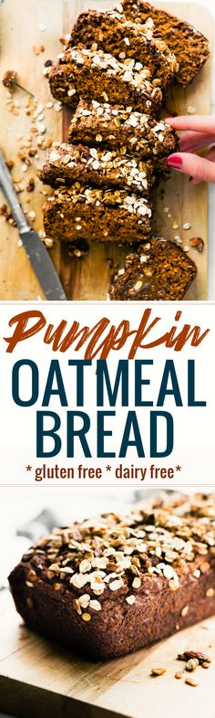 Pumpkin Oatmeal Bread is a simple, yet wholesome breakfast or homemade gift to give for holidays. You can't beat this delicious healthy combo; rolled oats, pure pumpkin, honey, cinnamon, and toasted nuts or dark chocolate chips to top. This pumpkin oatmeal bread is gluten free, dairy free, and ready in 45 minutes. www.cottercrunch.com #glutenfree #pumpkin #dairyfree #breakfast