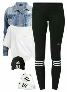 Adidas workout outfit, Leggings s, Adidas Superstar casual outfits with leggings - Casual Outfit Teenage Outfits, Teen Fashion Outfits, Swag Outfits, College Outfits, Outfits For Teens, Sport Outfits, Trendy Outfits, Fall Outfits, Summer Outfits