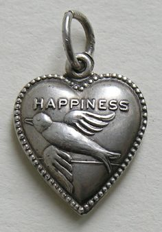 Hearts - Bird of Happiness Vintage silver puffy heart charm