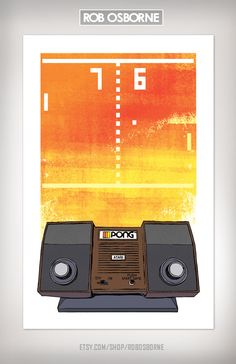 love!  Atari PONG Retro Vintage Classic Video Game Art by RobOsborne, $19.00