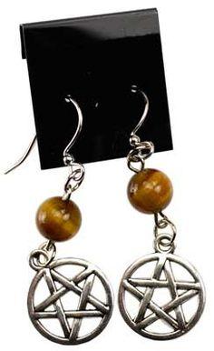 Tiger's Eye Pentagram earrings
