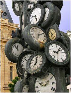 ... clock : A clock tower sculpture outside the Gare St. Lazare, Paris