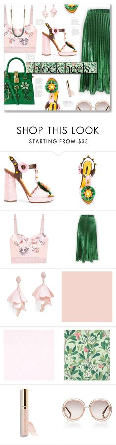 """pink and green block"" by nineseventyseven ❤ liked on Polyvore featuring Dolce&Gabbana, STELLA McCARTNEY, Oscar de la Renta Pink Label, Cole & Son, Beautycounter, Chloé, Nanette Lepore and blockheels"