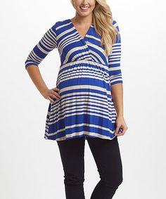 PinkBlush Blue Alternating-Stripe Maternity/Nursing Top