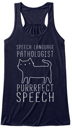 Speech Language Pathologist Purrrfect Speech Midnight T-Shirt Front