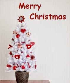 White Christmas Tree with Red Ornaments Merry Christmas Greetings