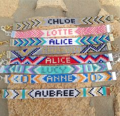 Beadwoven personalized name bracelet in different by LYCKAjewelry
