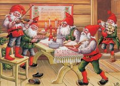 Lars Carlsson Gnomes Ready for x mas Dinner Sweden Tomte Nisse Santa Elf Card Swedish Christmas, Scandinavian Christmas, Christmas Elf, Vintage Christmas, Christmas Ornaments, Christmas Knomes, Baumgarten, Elves And Fairies, Magical Creatures