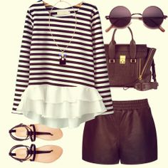 White Black Striped Contrast Cascading Ruffle T-Shirt - perfect for a summerday or -night :D