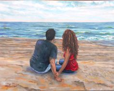 ROMANCE - Painted by Mary Veronica Kampen Laslowski. The Happy couple who just got engaged on the beach.
