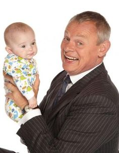 Martin Clunes as Doc Martin with his on-screen son