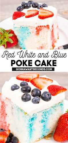*NEW* Summertime means parties, and parties mean getting to celebrate the Fourth of July! This Red White and Blue Poke Cake recipe is ready and willing to ring in fireworks with you this season. Fresh and colorful and oh so good! #summerrecipes #pokecake #sheetcake #summercake #fourthofjuly #easydesserts #berrycake #summerparties Poke Cake Recipes, Poke Cakes, Cupcake Cakes, Dessert Recipes, Cupcakes, Drink Recipes, Holiday Desserts, Easy Desserts, Holiday Recipes