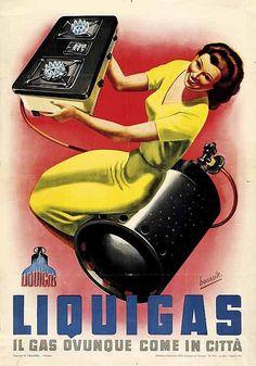 Liquigas - Il gas ovunque come in città - 1950's - (Gino Boccasile) -