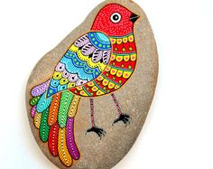 Hand Painted Stone Bird Beach Stone with hand-painted designs in acrylics © Sehnaz Bac 2016  I paint and draw all of my original designs by hand with the small brushes or paint pens with extra fine tip. I use also different inks. No stencils are used. All designs are created with my imagination.  These pebbles were found on the beaches of Adriatic Sea. Each was chosen for its shape, smoothness and uniformity. They are protected with 2 or 3 layers of high quality glossy acrylic varnish coat…