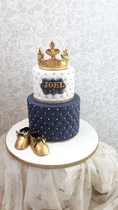 Prinse Joel one birthday cakes - cake by Nebibe Nelly Royal Cakes, Boys First Birthday Cake, Baby Birthday Cakes, Fondant Cakes, Cupcake Cakes, Prince Cake, Cupcakes Decorados, Baby Shower Cakes For Boys, Girl Cakes