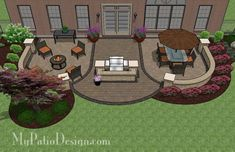 Arcs Patio Design with Grill Station and Seat Wall | 845 sq ft | Download Installation Plan, How-to's and Material List @Mypatiodesign.com