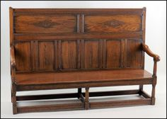 Carved Oak Highback Bench : Lot 132-1139 #oak #highback #bench #antique