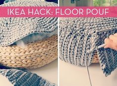 crochet ikea pouff cover with zpagetti / t-shirt yarn (tutorial) Crochet Home Decor, Diy Crochet, Tutorial Crochet, Cute Diy Projects, Crochet Projects, Diy Pouf, Crochet Cushions, Fabric Yarn, Crafts