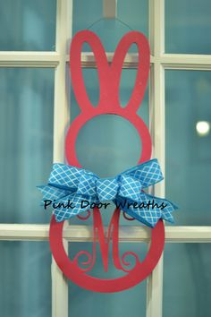 Made to Order - Wreath MONOGRAM DOOR HANGER Easter Bunny Scroll Vine initial pink teal turquoise white single letter decor decoration by PinkDoorWreaths