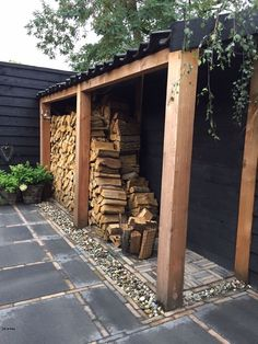 Outdoor Firewood Rack, Firewood Shed, Firewood Storage, Outdoor Storage, Backyard Patio, Backyard Landscaping, Landscaping Ideas, Backyard Ideas, Wood Store