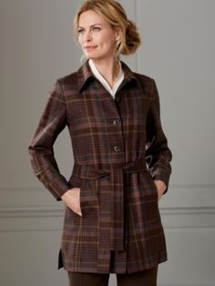 WORSTED WOOL FLANNEL BELTED SHIRT-JAC