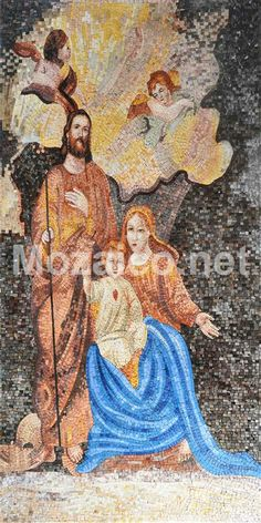 Jesus with Mary and Joseph Religious mosaic