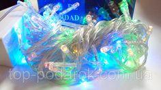 Гирлянда на белом шнуре с цветными светодиодами (100), фото 1