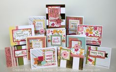 Card workshop to make 12 different designs. Features CTMH Happy Times Paper and Stamp Set. #SomethingAboutSharing #ctmhhappytimes