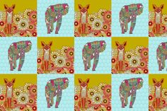 """fox and elephant 12"""" panels for mini pillows"""
