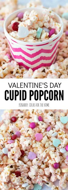 This easy Valentine's Day recipe for Cupid Popcorn is a fun and festive idea for a class Valentine's Day party or to make as sweet valentine gifts for friends and neighbors. corn for your Valentine's Day party.