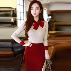 New Spring Autumn Slim Sweater Dress Bow Pencil Dress Casual Women Knitted Long Sleeve Office Dresses Long Bodycon Dress D69502 #WomendressesCasual