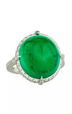 Bayco Colombian Emerald Cabochon & Diamond Ring in Platinum