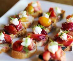 Strawberry Rhubarb Bruschetta on crispy grilled bread and skip the plate from A Spice of Life Catering; http://www.aspiceoflife.com/