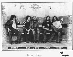 Gentle Giant Left to right: Derek Shulman, Ray Shulman, John Weathers, Gary Green and Kerry Minnear, in Uk Music, Rock Groups, Band Photos, Progressive Rock, Gentle Giant, Best Memories, Hard Rock, Concert, Musicians