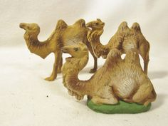 """4"""" THREE VINTAGE NATIVITY CAMEL FIGURES / COMPOSITE / MARKED ITALY"""