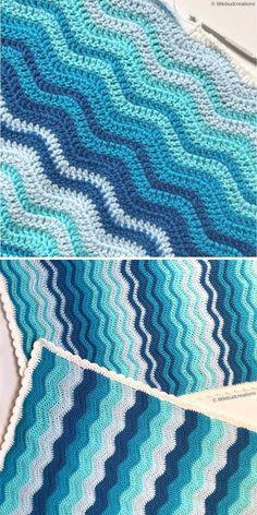 Ripple Stitch Blanket by Sam Hermes of littlebudcreations Crochet Wave Pattern, Chevron Crochet Patterns, Crochet Baby Blanket Free Pattern, Crochet Stitches Patterns, Crochet Ideas, Chevron Afghan, Crochet Ripple Afghan, Manta Crochet, It's Easy