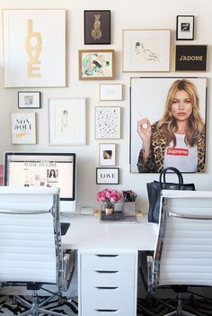 My Office Gallery Wall + Tips Office Decor, Office Inspo, Office Chic, Desk Office, Office Spaces, Office Walls, Office Ideas, Office Art, Work Desk