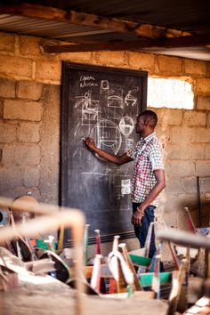 Furniture designer Hamed Ouattara at his 'drawing table' in Burkina Faso.