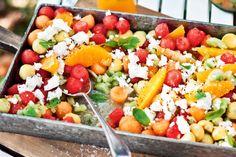 Wassermelonen Ziegenkäse Salat