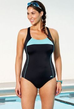 20% Off was $56.00, now is $44.80! Aquabelle Xtra Life® Lycra® Mint Border Plus Size Cross Back Swimsuit Plus Size Swimwear  #Aquabelle