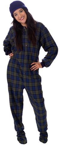 This pajama will keep you warm! Big Feet Pajamas Adult Navy Plaid Flannel One Piece Footy. Comes in matching family options too.