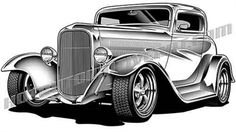 Ford, Chevy hot rod and custom car clip art 1932 Ford, 1957 Chevrolet, Chevrolet Chevelle, Retro Cars, Vintage Cars, Vintage Prints, Cadillac, Car Drawing Pencil, Hot Rod Tattoo