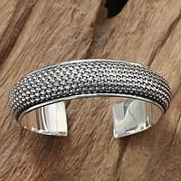 Sterling silver cuff bracelet, 'Woven Paths' by NOVICA
