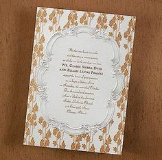 Fall Filigree Wedding Invitation. Love the silver border but hate the brown part. Change out with scattered snowflakes?