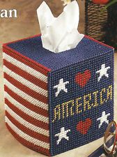 PLASTIC CANVAS ** PATTERN ** AMERICAN PRIDE TISSUE BOX COVER ~ FREE SHIPPING ~ ~