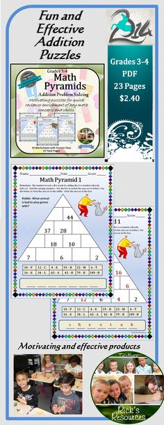These little puzzles are a great for kids to have fun in a productive way. The Math Pyramids focus on addition problem solving. Students determine the values for the blank cells. This is done by recognizing that the value of a cell is made by adding the two numbers directly below it. Once the cell values are determined, the numbers can be matched to letters in the key. The identified letters can be arranged to form the answer to a riddle. Answer keys are included.